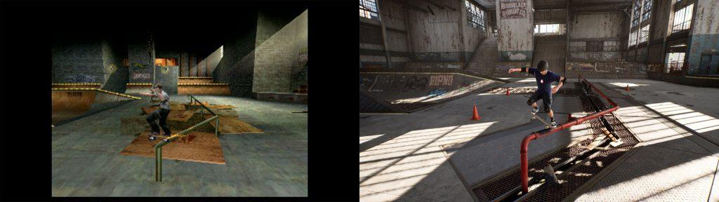 Das Level Warehouse aus Tony Hawk's Pro Skater - links das Original, rechts remastered