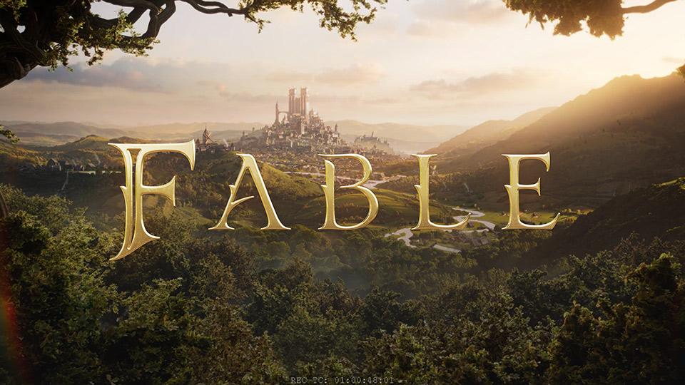 Fable-Logo über Hintergrund eines Fantasyreiches