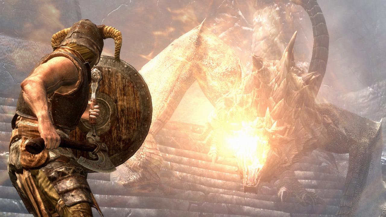 Kampf gegen einen Drachen in Skyrim